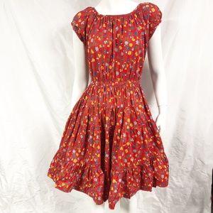 Vtg 60s POM POM Western Square Dance Tiered Dress